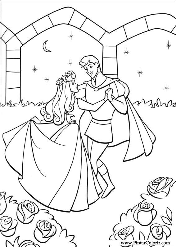 Dibujos para pintar y Color La Bella Durmiente - Diseño de impresión 002