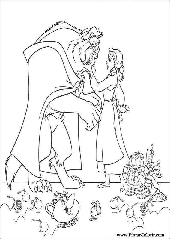 Desenhos Para Pintar E Colorir A Bela E O Monstro Imprimir