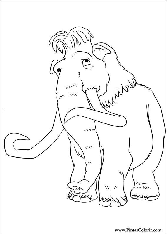 Dibujos para pintar y Color Era de Hielo 4 - Diseño de impresión 012