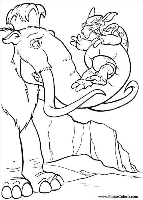 Dibujos para pintar y Color Edad de Hielo - Diseño de impresión 018