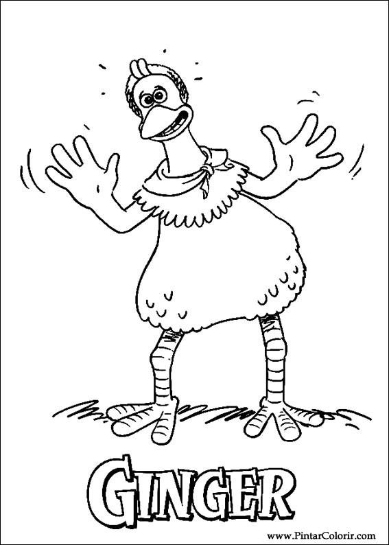 çizimler Boya Ve Renk Chicken Run Için Baskı Tasarım 004