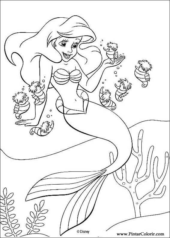 çizimler Boya Ve Renk Küçük Denizkızı Için Baskı Tasarım 010