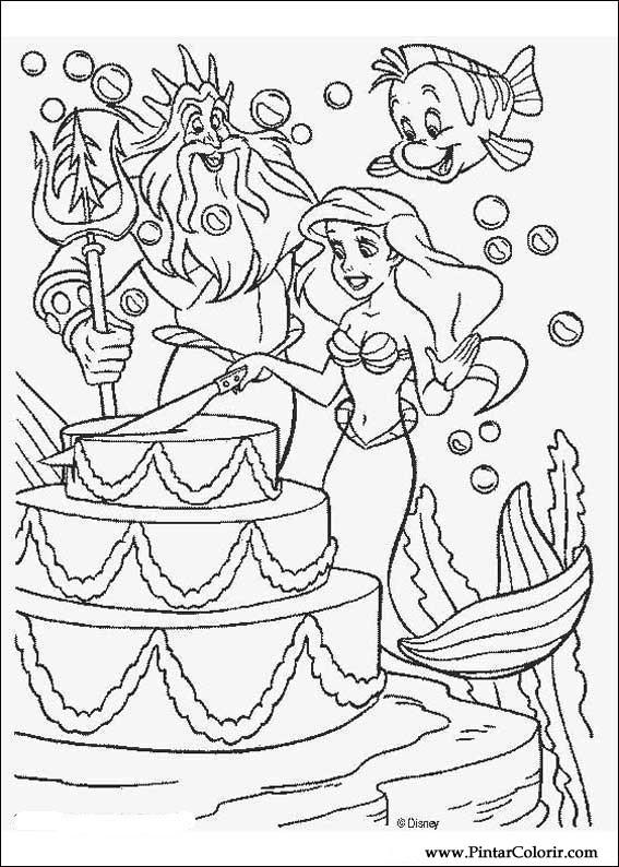 çizimler Boya Ve Renk Küçük Denizkızı Için Baskı Tasarım 015