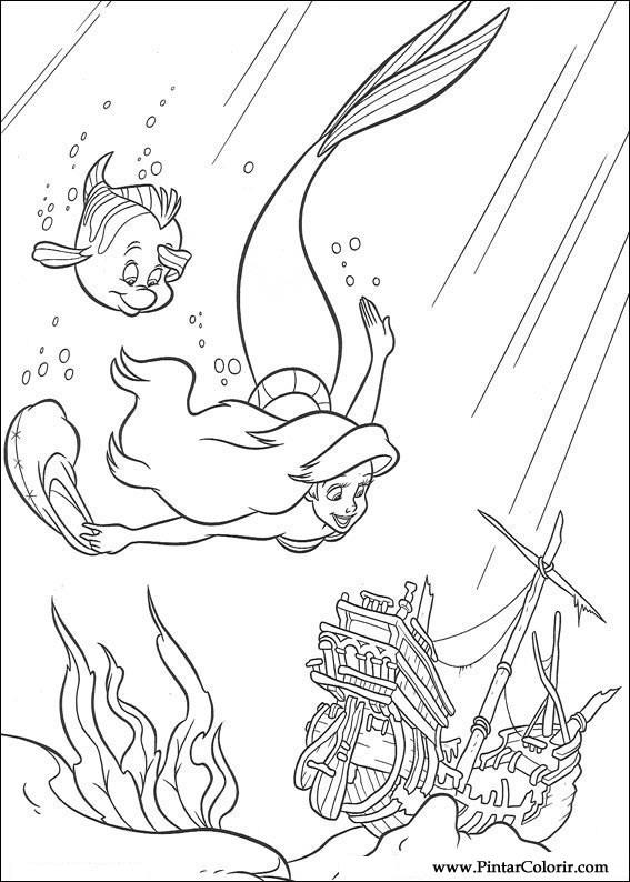 çizimler Boya Ve Renk Küçük Denizkızı Için Baskı Tasarım 021