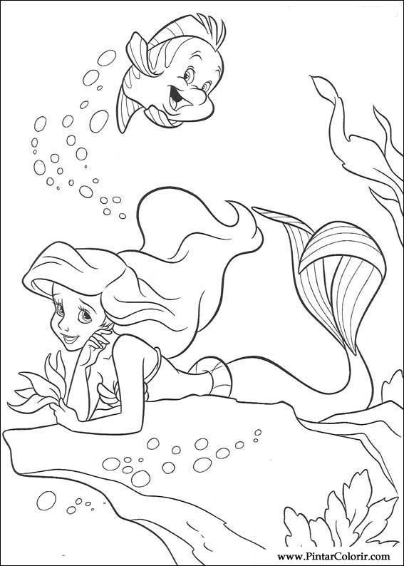 çizimler Boya Ve Renk Küçük Denizkızı Için Baskı Tasarım 035