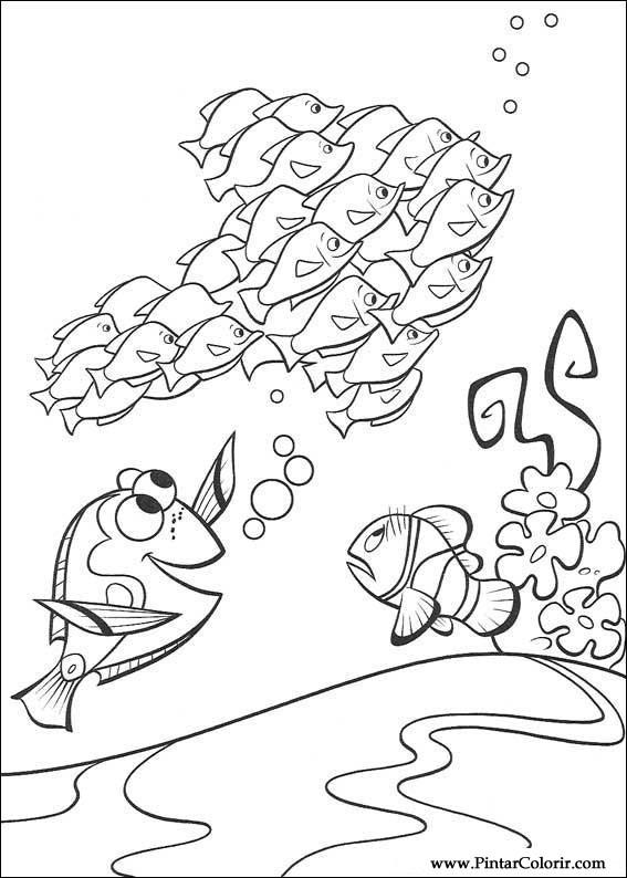 Dibujos para pintar y Color Buscando a Nemo - Diseño de impresión 033