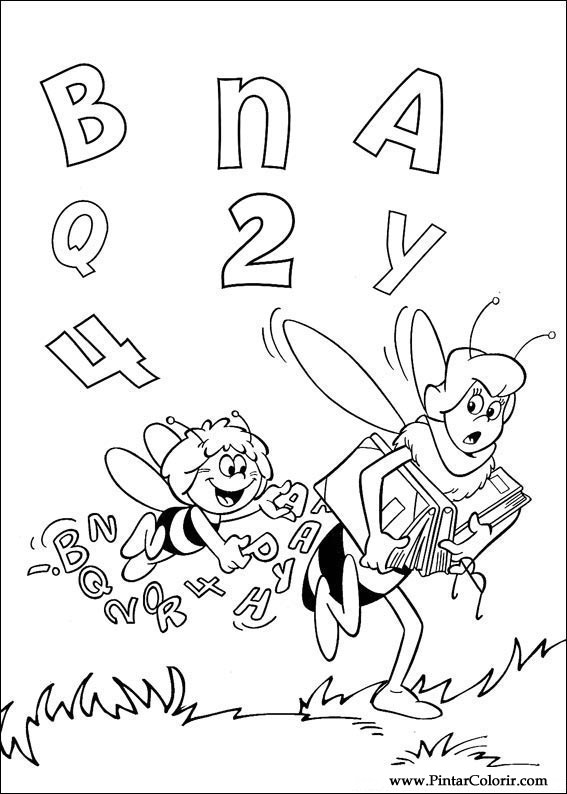 Dibujos para pintar y Color Bee Maia - Diseño de impresión 003