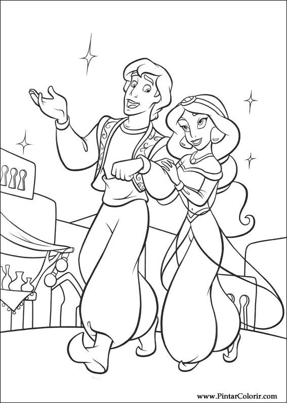 Dibujos para pintar y Color Aladdin - Diseño de impresión 001