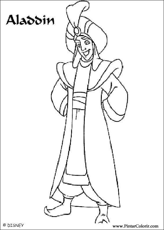 Dibujos para pintar y Color Aladdin - Diseño de impresión 010