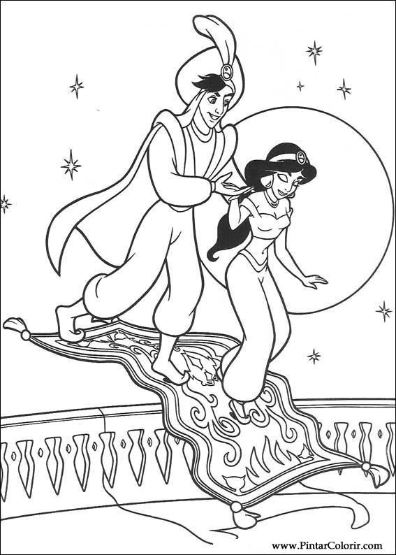 Dibujos para pintar y Color Aladdin - Diseño de impresión 052