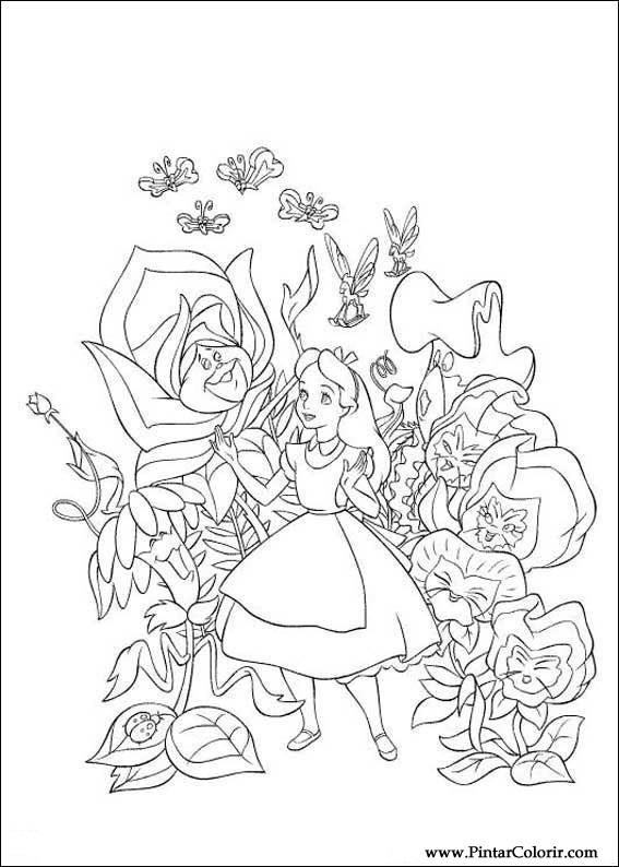 Disegni Di Dipingere E Di Colore Alice Nel Paese Delle Meraviglie