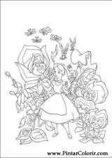 Pintar e Colorir Alice No Pais Das Maravilhas - Desenho 006