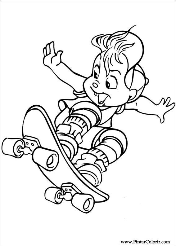 Desenhos Para Pintar E Colorir Alvin Esquilos Imprimir Desenho 002