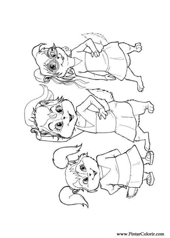 Dibujos para pintar y Color Alvin Ardillas - Diseño de impresión 012
