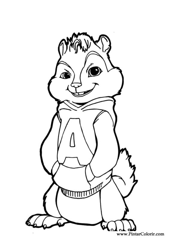 Drawings To Paint & Colour Alvin Chipmunks - Print Design 014