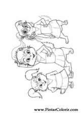 Pintar e Colorir Alvin Esquilos - Desenho 012