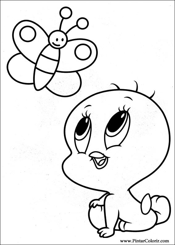 Drawings To Paint & Colour Baby Looney Tunes - Print Design 021