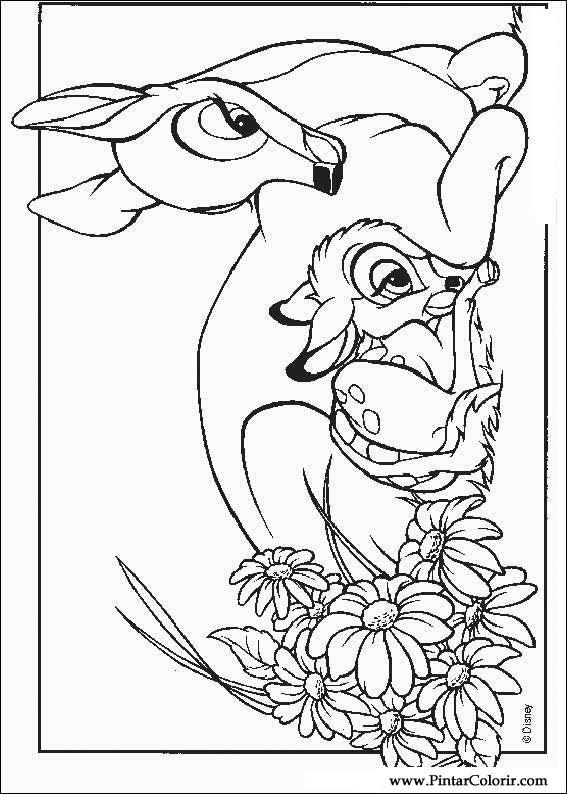 Dibujos para pintar y Color Bambi - Imprimir Diseño 006