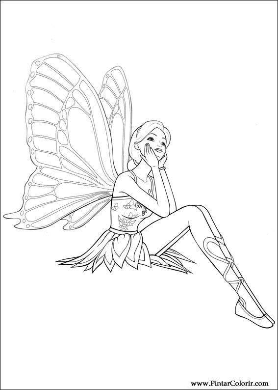 Disegni Per Dipingere Colour Barbie Mariposa Stampare