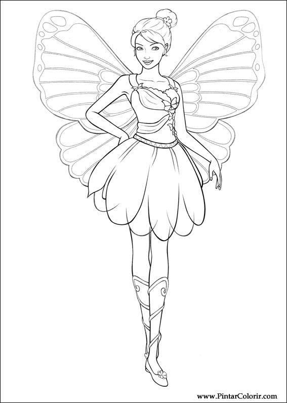 çizimler Boya Ve Renk Barbie Mariposa Için Baskı Tasarım 005
