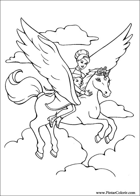 Dibujos para pintar y Color Barbie Magic Pegasus - Diseño de ...