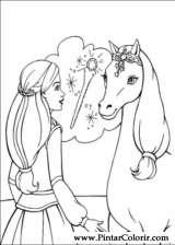 Pintar e Colorir Barbie Pegaso Magico - Desenho 010