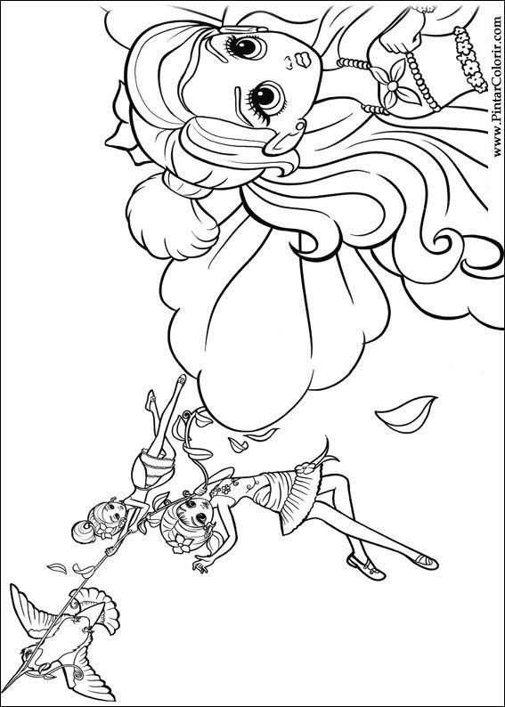 Pintar e Colorir Barbie Polegar - Desenho 015