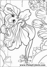 Pintar e Colorir Barbie Polegar - Desenho 019