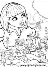 Pintar e Colorir Barbie Polegar - Desenho 030