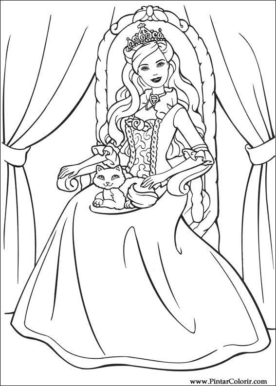 Dibujos para pintar y Color Barbie Princesa - Diseño de impresión 004
