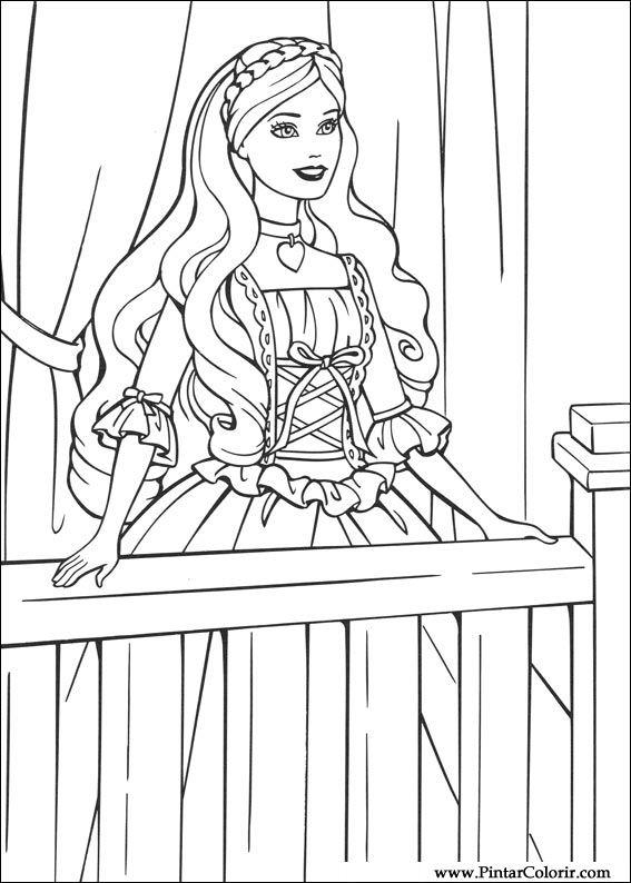 Dibujos para pintar y Color Barbie Princesa - Diseño de impresión 006
