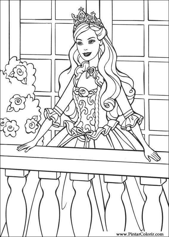 Dibujos para pintar y Color Barbie Princesa - Diseño de impresión 007