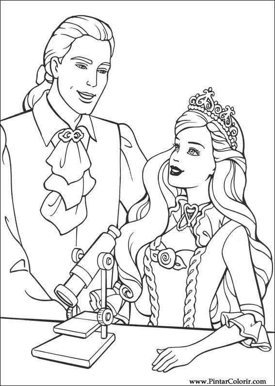 Dibujos Para Pintar Y Color Barbie Princesa Diseño De Impresión 010