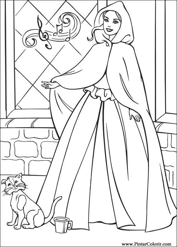 çizimler Boya Ve Renk Barbie Prenses Için Baskı Tasarım 012
