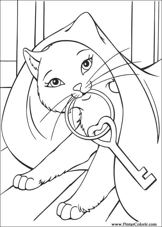 Dibujos para pintar y Color Barbie Princesa - Diseño de impresión 018