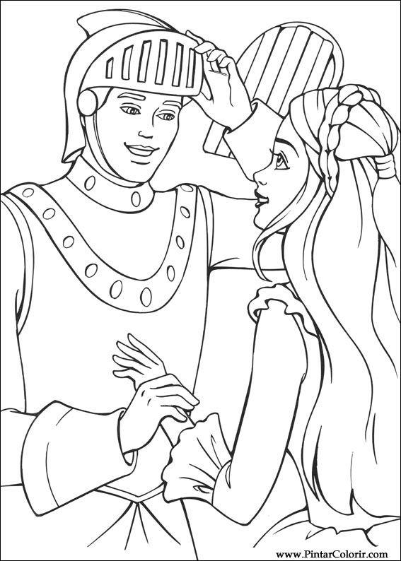 çizimler Boya Ve Renk Barbie Prenses Için Baskı Tasarım 021