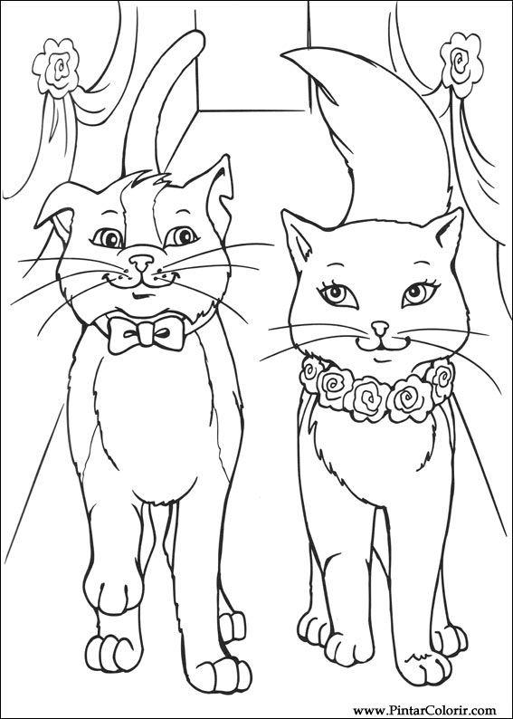 Dibujos para pintar y Color Barbie Princesa - Diseño de impresión 023