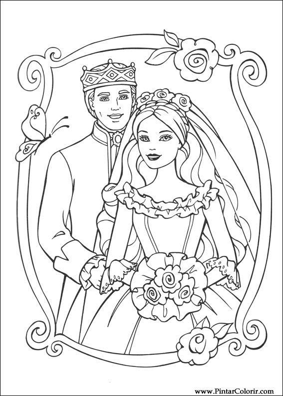 Zeichnungen Zu Malen Und Farbe Barbie Prinzessin Print Design 025
