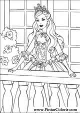 Pintar e Colorir Barbie Princesa - Desenho 007