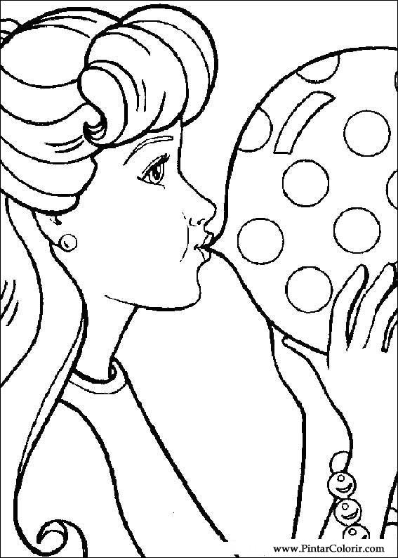 Drawings To Paint Colour Barbie Print Design 014