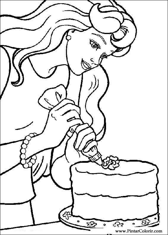Zeichnungen Zu Malen Und Farbe Barbie Print Design 015