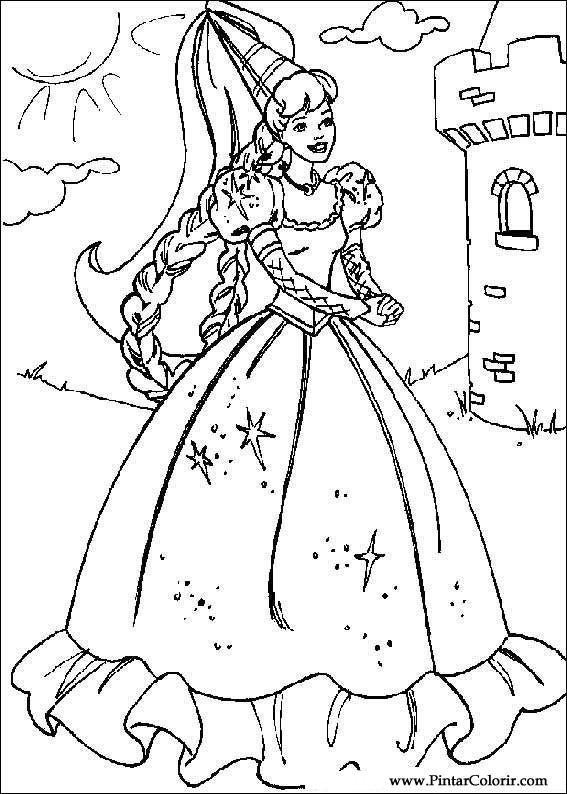 Dibujos para pintar y Color Barbie - Diseño de impresión 029