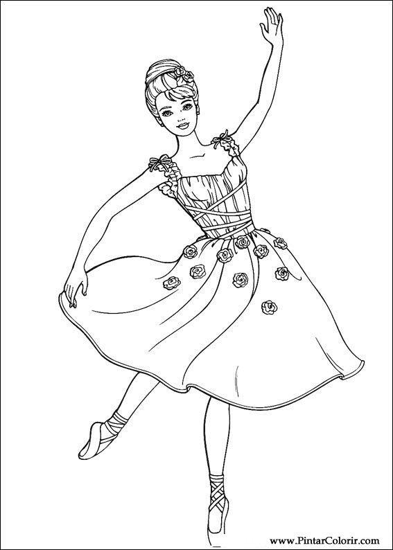 Dibujos para pintar y Color Barbie - Diseño de impresión 058