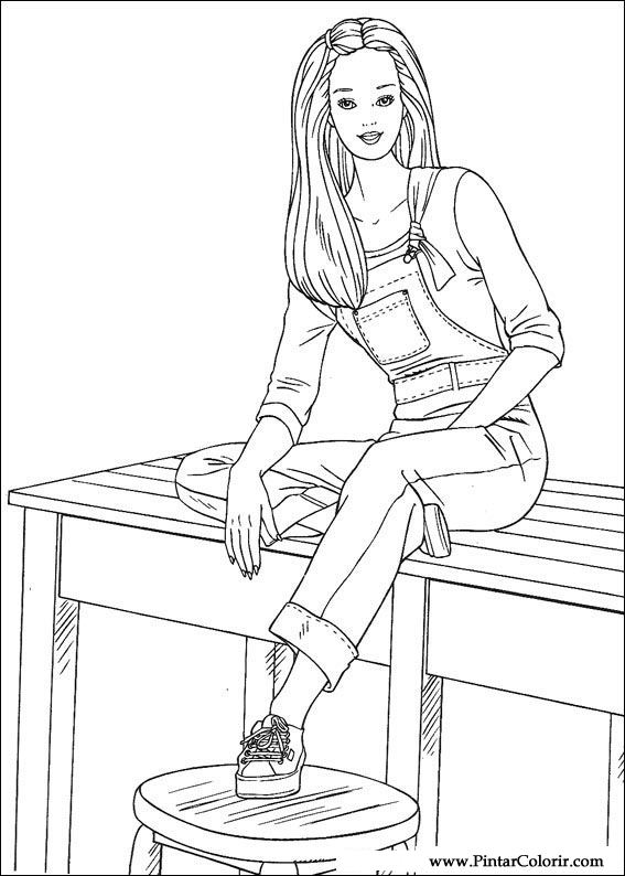 çizimler Boya Ve Renk Barbie Için Baskı Tasarım 062