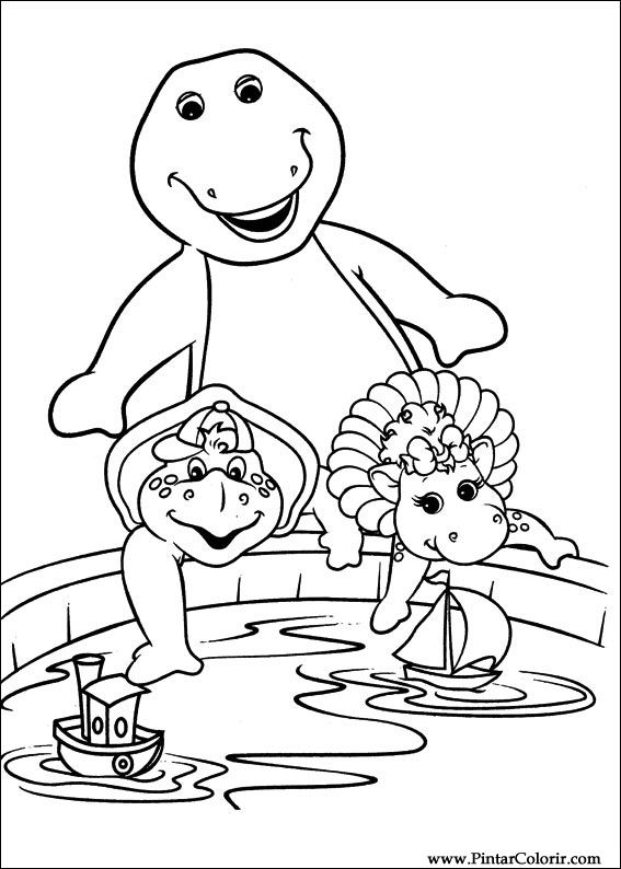 Dibujos para pintar y Color Barney - Diseño de impresión 001