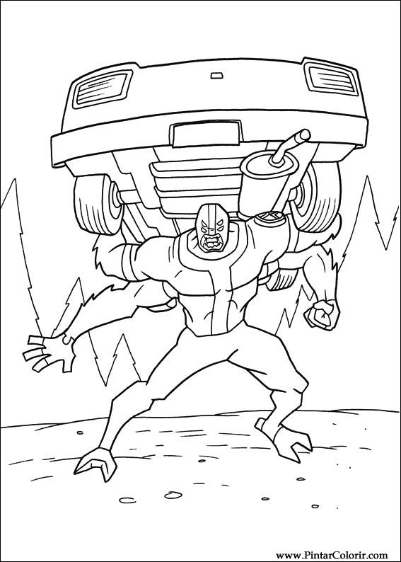 drawings to paint colour ben 10 print design 023