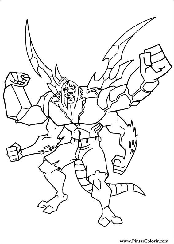 drawings to paint colour ben 10 print design 044