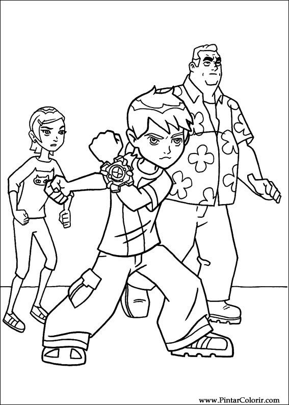 drawings to paint colour ben 10 print design 071