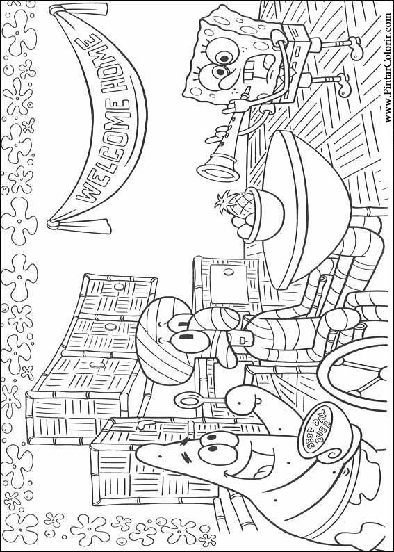 çizimler Boya Ve Renk Sünger Bob Için Baskı Tasarım 003