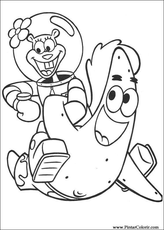 Dibujos para pintar y Color Bob Esponja - Diseño de impresión 036